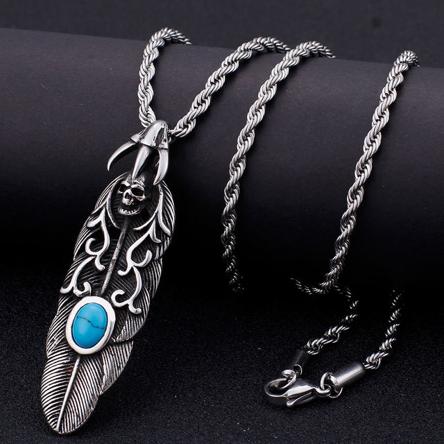 STAINLESS STEEL LEAF SKULL NECKLACE