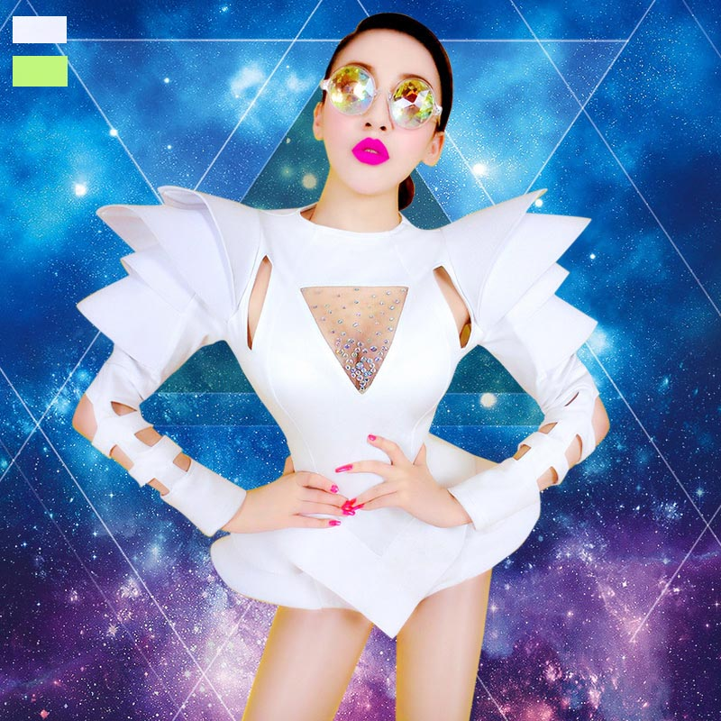 White Bodysuit Jazz Dance Costumes Bar Dj Dancers Sexy Nightclub DS Singer Rave Clothes Rhinestone Jumpsuit Stage Wear DN1266