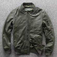 Envío gratis. Nuevo clásico MA 1 leather jaket. Abrigo de vuelo de piel de cabra, chaquetas de piel auténtica de estilo japonés. Calidad de talla grande