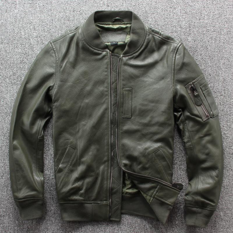 Free Shipping.Brand New Classic MA-1 Leather Jaket.goatskin Flight Coat,japan Style Genuine Leather Jackets.quality Plus Size