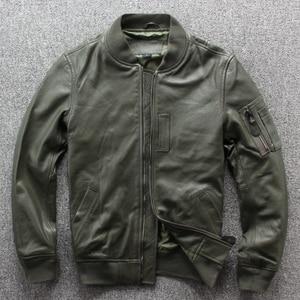 Image 1 - Frete grátis. nova marca clássico ma 1 couro jaket.goatskin flight coat, estilo japão jaquetas de couro genuíno. qualidade mais tamanho