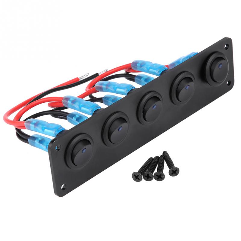 12-24V 5 Gang Round Dash Rocker Toggle Switch Panel Blue LED For RV Boat Yacht Marine