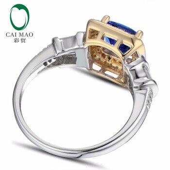1.63ct Anillo De Compromiso De Oro Amarillo De 14k De Diamante De Bluetoanzanita Púrpura Con Corte De Cojín