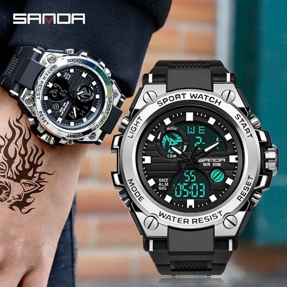 SANDA-montre-bracelet électronique pour hommes, de marque G, numérique, choc, de sport, mode, étanche, 2020 6