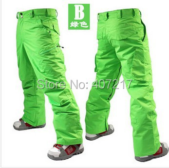 2014 mens bright green ski pants yellow snowboarding pants for men sports snow pants black waterproof 10K windproof free ship