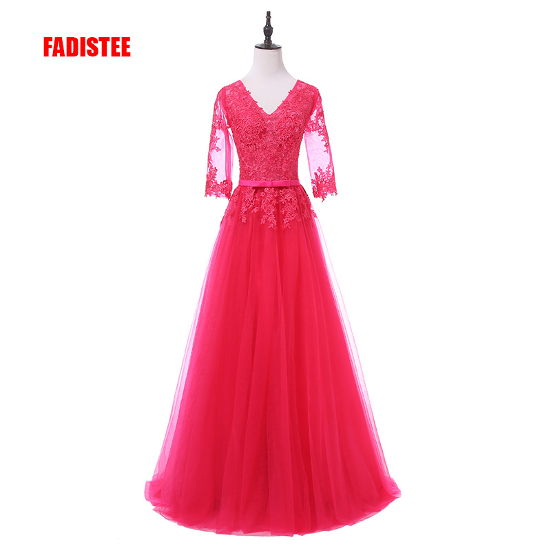 FADISTEE Elegant Long Bridesmaid Dresses Appliques Lace Half Sleeves Sexy V-neck See Through Style Wedding Party Dress Under 50$