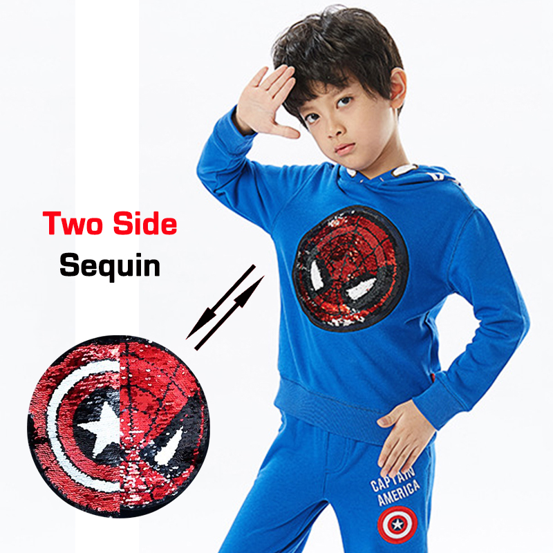 Autumn Spring spiderman captain switchable sequin print baby boys hooded sweat shirt tee kids tshirt children tops 2 to 12 yrs rose print marled tee