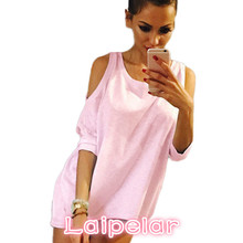 Summer Women T-Shirt O-Neck Solid Color Off Shoulder Sexy Long T Shirt Womens Top Tees Loose Casual T-shirt Plus Size Laipelar