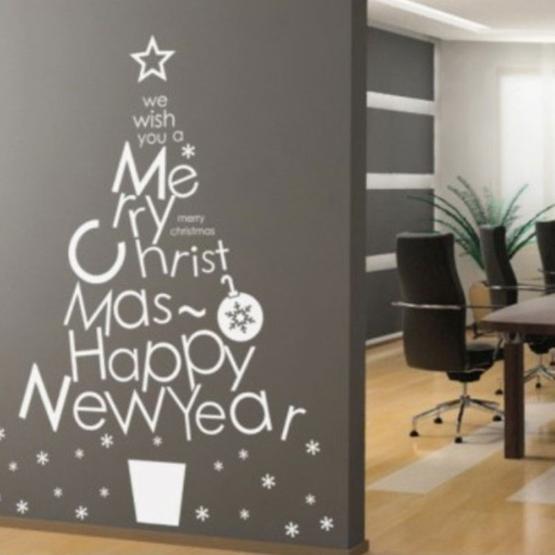 White christmas tree snowflake window stickers new year shops showcase glass home decoration christmas decorations wall stickers in wall stickers from home