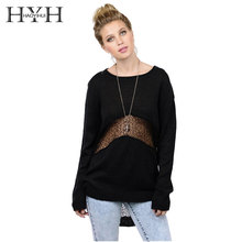 HYH HAOYIHUI Autumn Fashion Solid Women O-neck Street Style Sweater Ladies Casual Basic Pullovers Sweater Hollow Out Long Sleeve