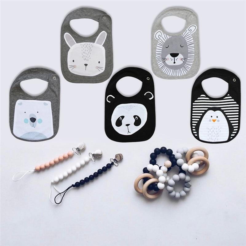 5 pcs design misto bonito animal dedign bebe meninos meninas babadores criancas panda leao coelho design