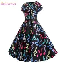 Bebovizi Women Clothes 2019 New Casual Summer Sexy Plus Size Black Bandage Dress 1950s Vintage Elegant Office Note Print Dresses