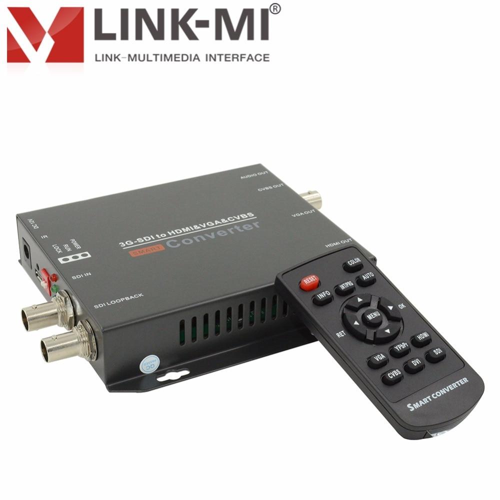 LINK-MI LM-CV180 HD 200 m / 3G SDI kuni HDMI / VGA / CVBS heli multifunktsionaalne video konverter Kuni 1920x1080 @ 60Hz 3G-SDI 120 m laiendaja