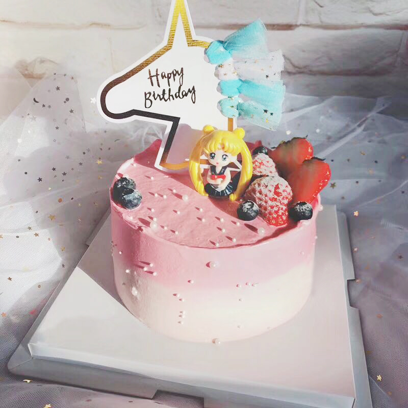 Cartoon Unicorn Happy Birthday Cake Toppers Unicorn Cake Top Flag