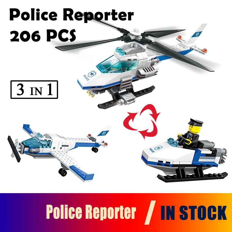 51013 Model building kits compatible with lego city Police Reporter 206 pcs 3D blocks Educational toys hobbies for children
