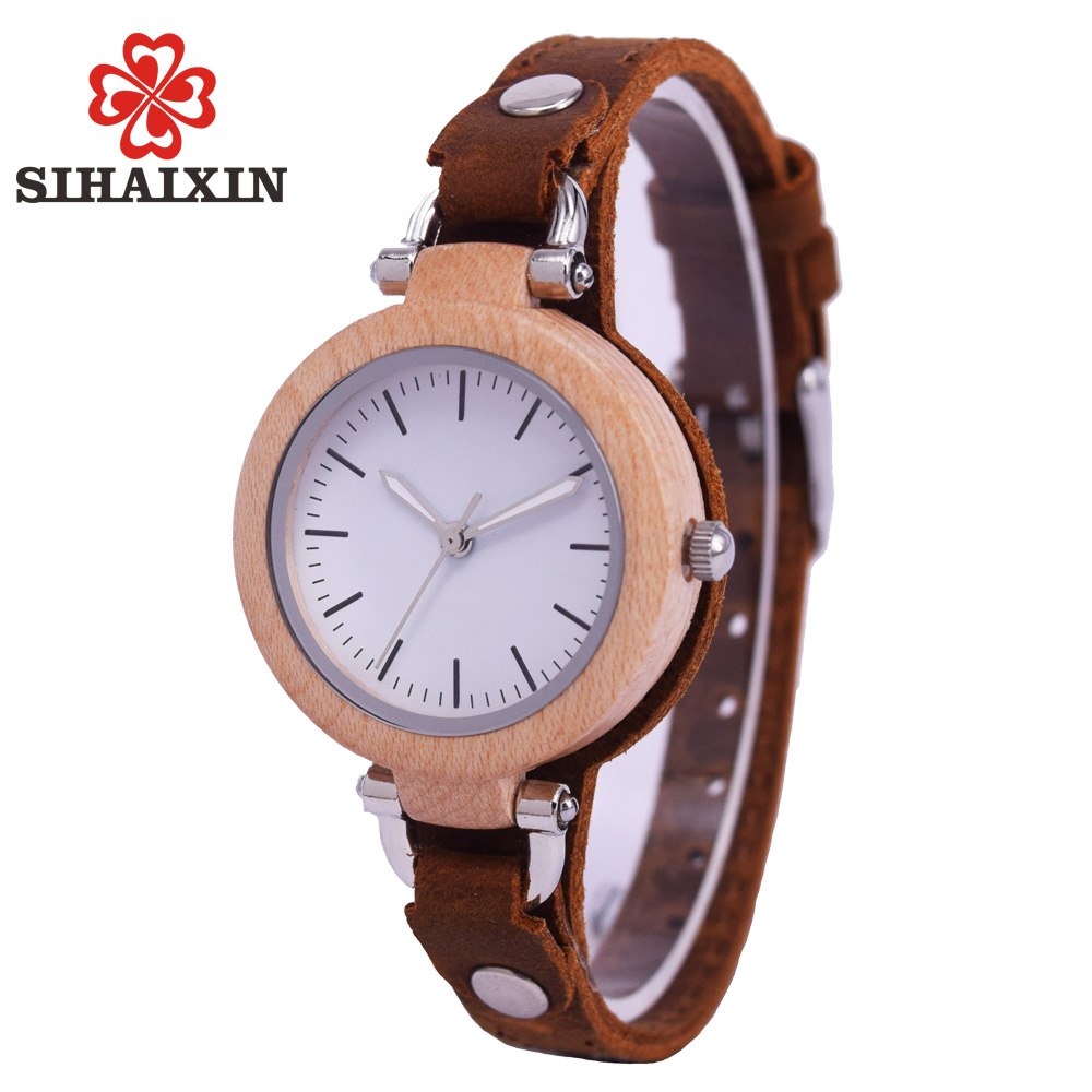 sihaixin small wood watch women wristwatches with genuine. Black Bedroom Furniture Sets. Home Design Ideas