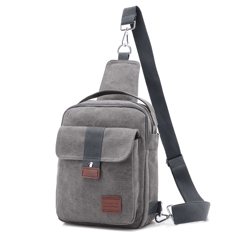 Men Canvas Small Sling Chest Pack Handbag Vintage Shoulder Crossbody Bag Function Small Men Messenger Bags Grey 19*8*25 CM aerlis brand men handbag canvas pu leather satchel messenger sling bag versatile male casual crossbody shoulder school bags 4390