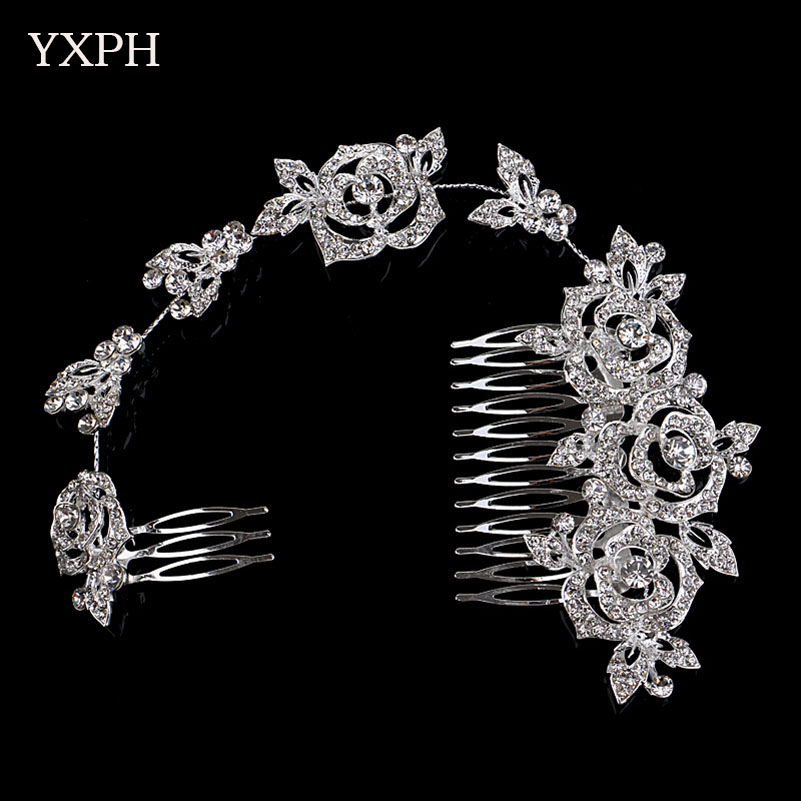 yxph elegant hairwear wedding jewelry bride beautiful long rose haircomb zinc alloy rhinestone accessories fashion crystals