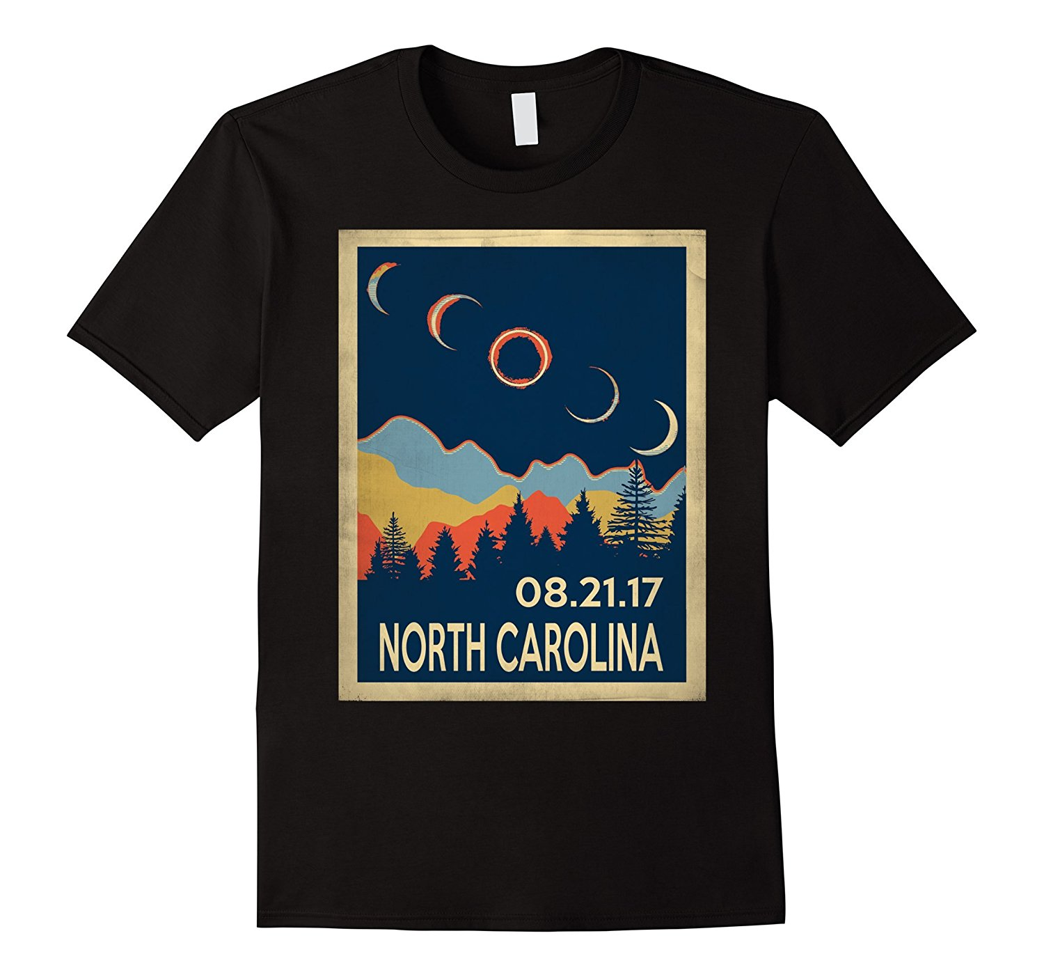 Vintage North Carolina Solar Eclipse 2018 Shirt Top Quality Cotton Casual Men T Shirts Men Free Shipping Hipster