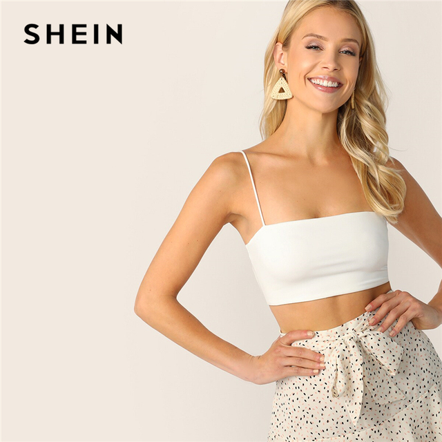 SHEIN Solid Crop Cami Top Women Sleeveless Spaghetti Strap Vest Sexy Basics Stretchy White Slim Fit Summer Cami Tops