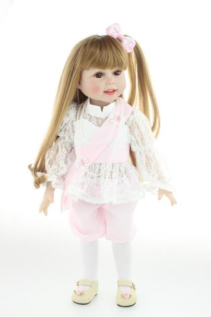 18 '' 45 см американский принцесса девушка куклы для продажи длинные волосы кружевном платье красоты девушка возрождается винил новорожденного ребенка куклы для девочек