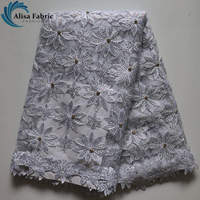2017 Latest High Quality African Cord Laces With Rhinestones White Nigerian Guipure Lace Fabrics For Women