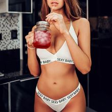 Womens Plus Size Bikini Set Letters Print Cross Strappy Bandage Underwear Solid Color Deep V-Neck Bra High Cut G-String Lingerie