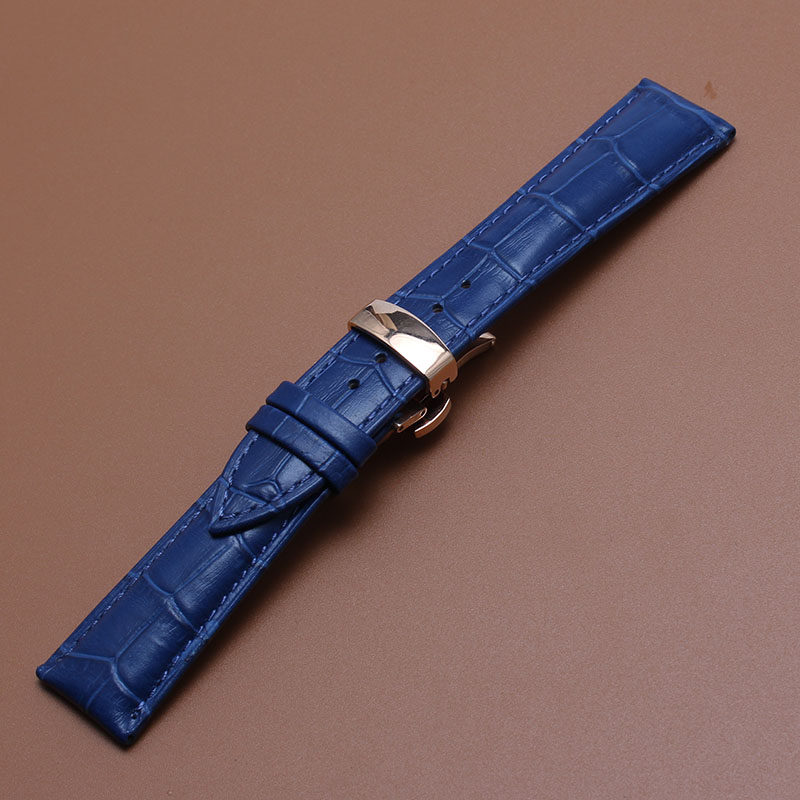 New arrival Handmade Blue Cowhide Leather Watchband strap 16mm 18mm 20mm 22mm Watch Accessories rosegold buckle metal clasp new arrival handmade blue cowhide leather watchband strap 16mm 18mm 20mm 22mm watch accessories rosegold buckle metal clasp