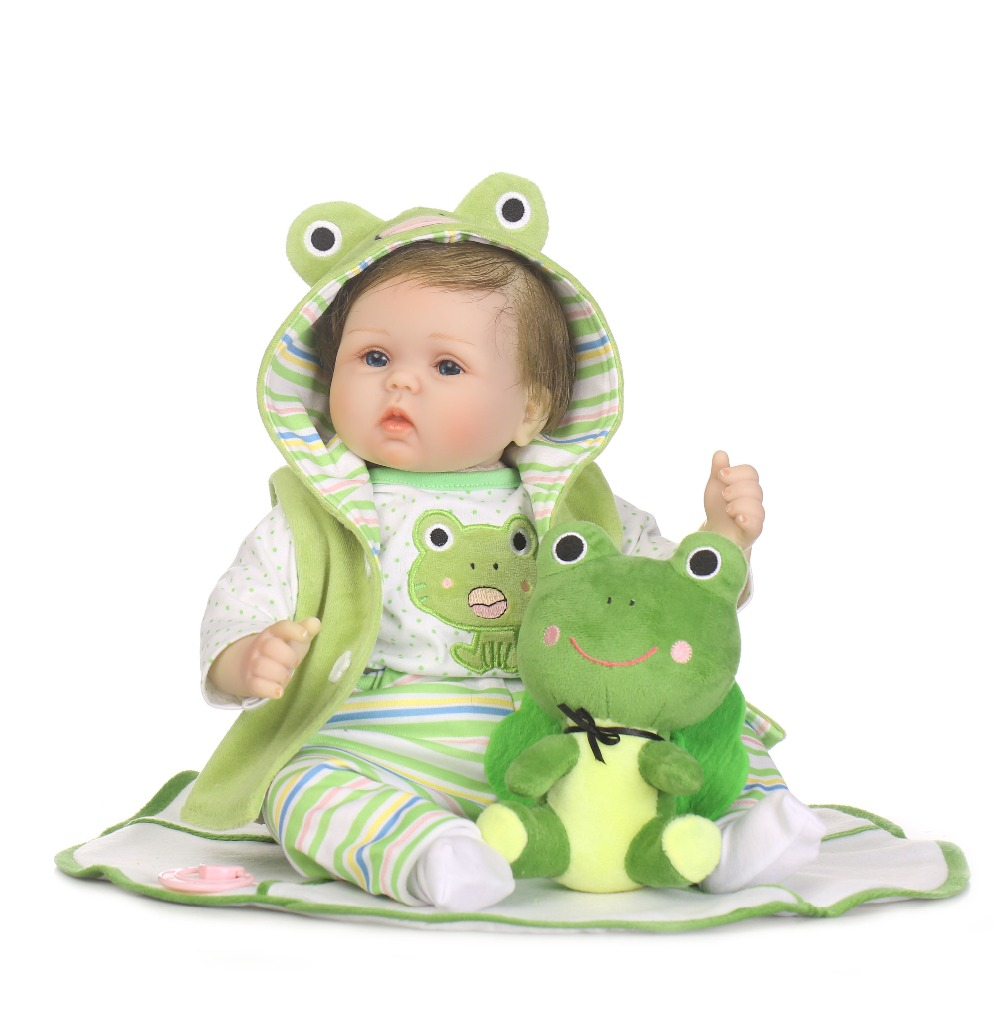 NPK Doll 55cm Silicone Limbs Cloth Body Reborn Boy Doll Lifelike Baby Alive Soft Toys With frog suit And Plush toys Girls GiftNPK Doll 55cm Silicone Limbs Cloth Body Reborn Boy Doll Lifelike Baby Alive Soft Toys With frog suit And Plush toys Girls Gift