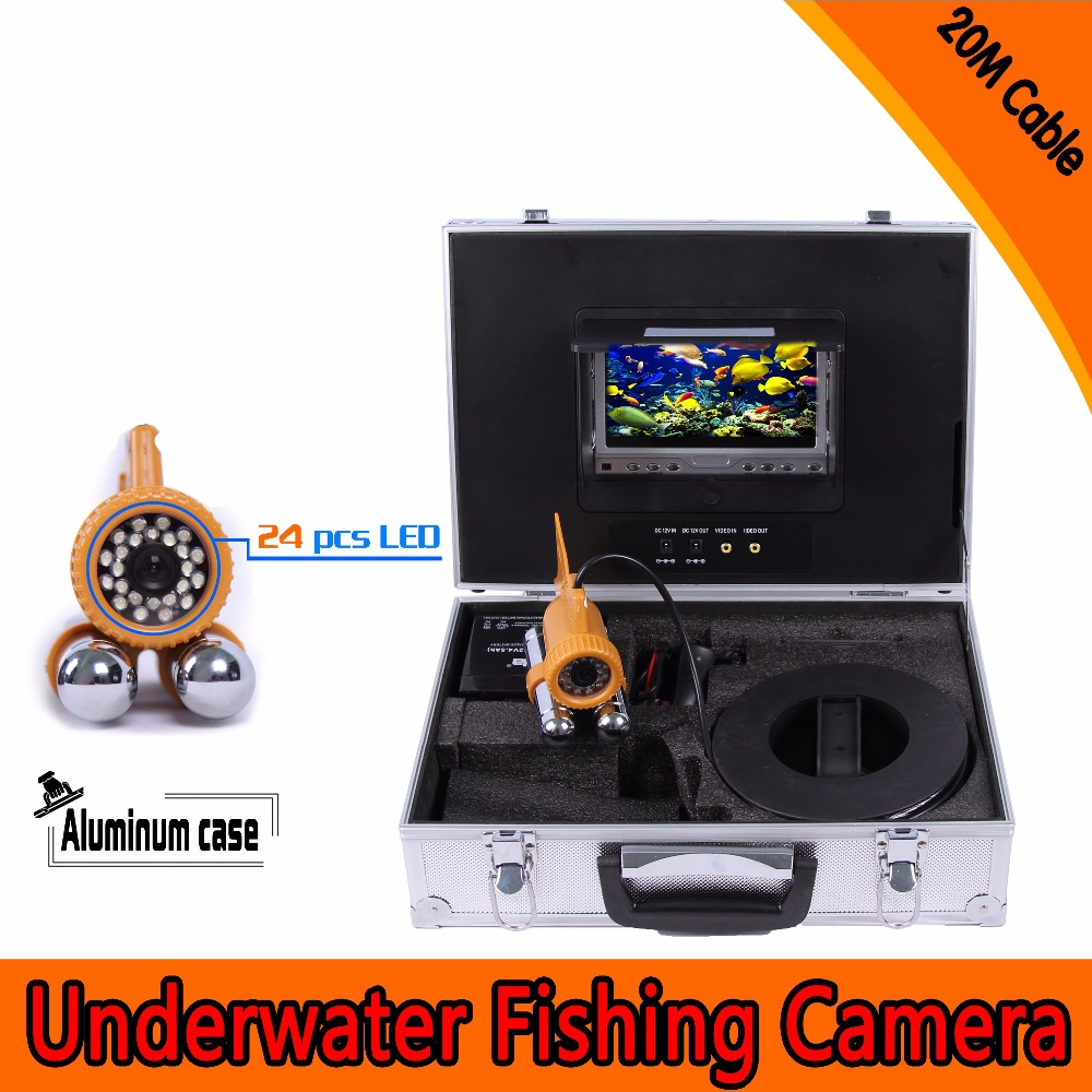 (1 set) 20M Cable Underwater Fishing Camera HD CMOS 7 Inch Color Screen Diving camera System 24 White IR LED Fish Finder