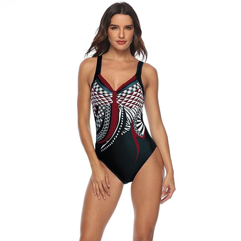 Женский купальник 2019, сдельный купальник, Ретро стиль, купальники, открытая спина, купальник для пляжа размера плюс, монокини, M-3XL 37