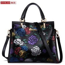 presell ZOOLER genuine leather bag brands top handle woman bag luxury embossed floral handbag new fashion shoulder bags #2951