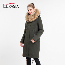 Fashion Full Zipper Button Special Offer 2017 Women Winter Jacket Stand Real Fur Collar Hooded Design Warm Parka Coat Y170028