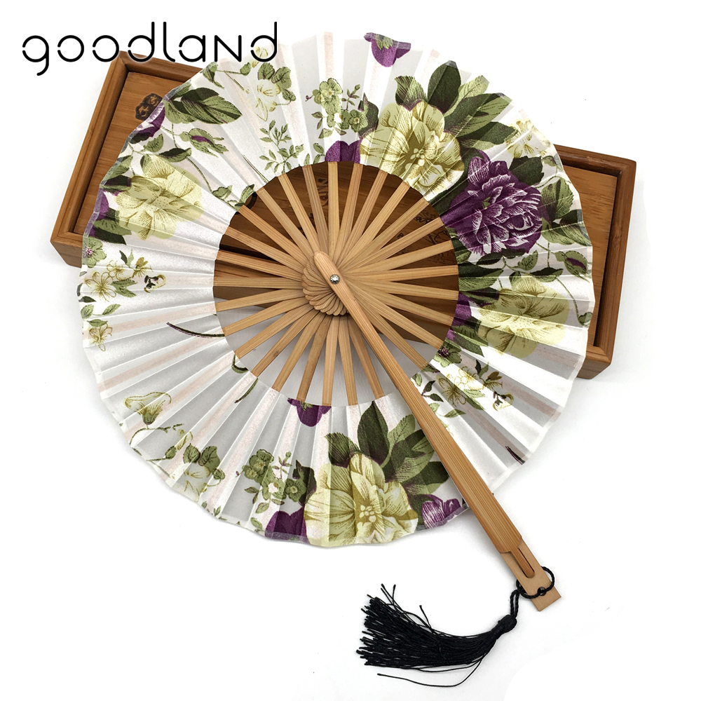 Wholesale Free Shipping 50pcs Chinese Vintage Fancy Dress Costume Delicate Packaging Flower Cloth Bamboo Hand Fan