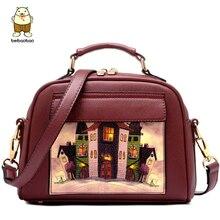 Beibaobao, женская сумка-тоут, кожаная сумка, известные бренды, принт, женские сумки-мессенджеры, женская сумка, bolsos, высокое качество, кошелек LS8235mf