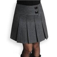 New 2019 Spring Winter Skirt Women Wool Short Skirt High Waist Pleated Skirt Fashion Black Gray Woolen Skirts For Women S XXXL