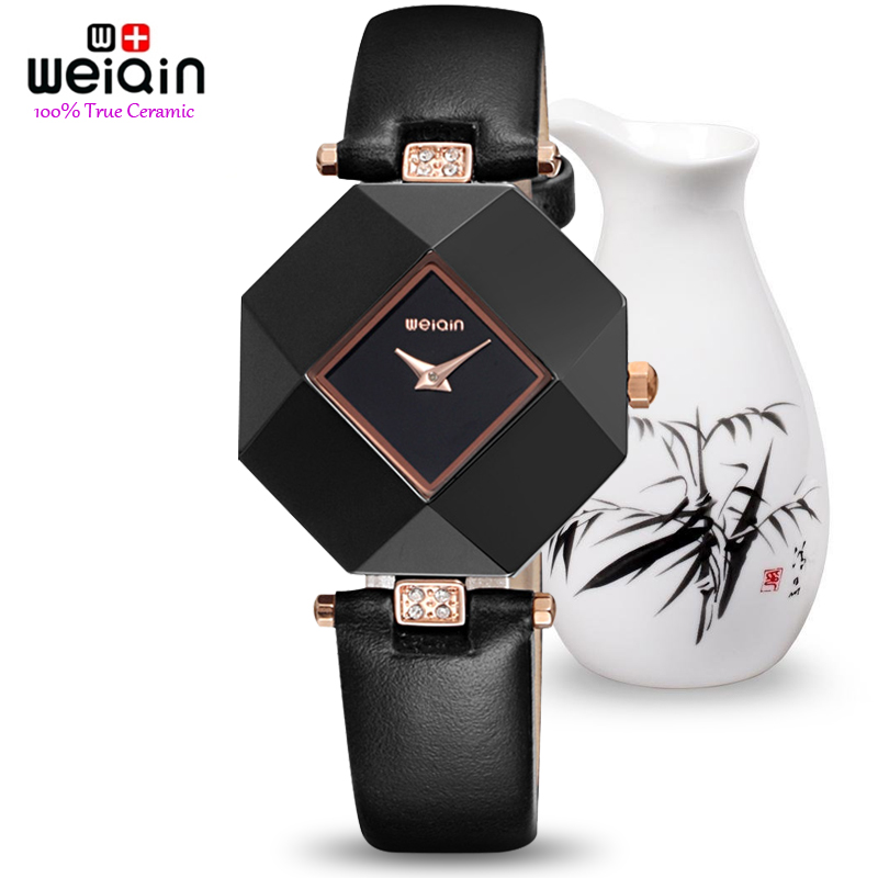 100% Pure Ceramic Case! HOT WEIQIN Luxury Brand Top Leather Strap Fashion Watches Women Rhinestone Lady Dress Watch Montre Femme