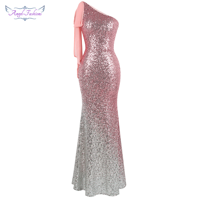 9536f5314b18 Angel-fashions Women's One Shoulder Sparkly Sequin Gradient Splicing Slit  Evening Dress 286 Green Gold