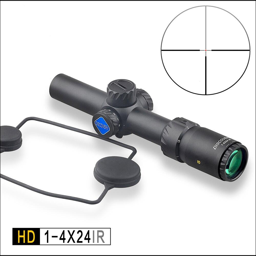 Descoberta tactical caça riflescope hd 1-4x24 ir longo alívio dos olhos iluminado r & g escopo de visão telescópica caber 30-06 308 ar15 m4