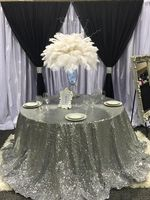 Big sale European Embroidered Silver Sequin tablecloth 120 round table cover for wedding/Party/Banquet Decor elegant table cloth