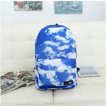 2017 New Korean Fashion Blue & White Canvas Watermark Influx Of Male Beauties Essential Travel Shoulder Bag  Free Shipping