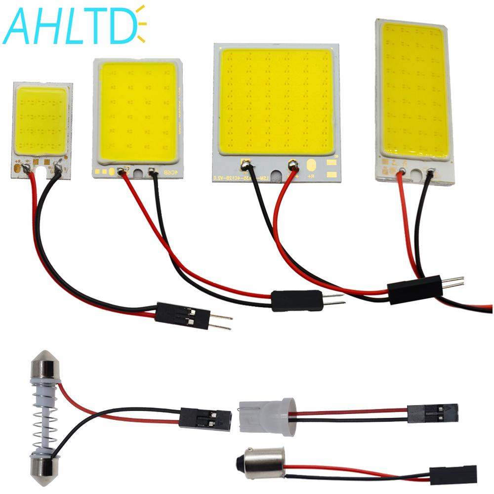 AHLTD White T10 24/36/48 Smd Cob Led Panel Car Auto Interior Reading Map Lamp Bulb