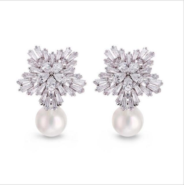 Piercing CZ stud pearl earrings Women white snow flake jewelry Elegant wedding gift with Free box pusety brincos sd30