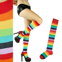 Thigh High Rainbow Striped Socks