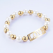 Yunkingdom Elegant Simulated-Pearl Bracelets Metal Gold Color Bangles Stainless Steel Bracelets for Women Girls Gift(China)