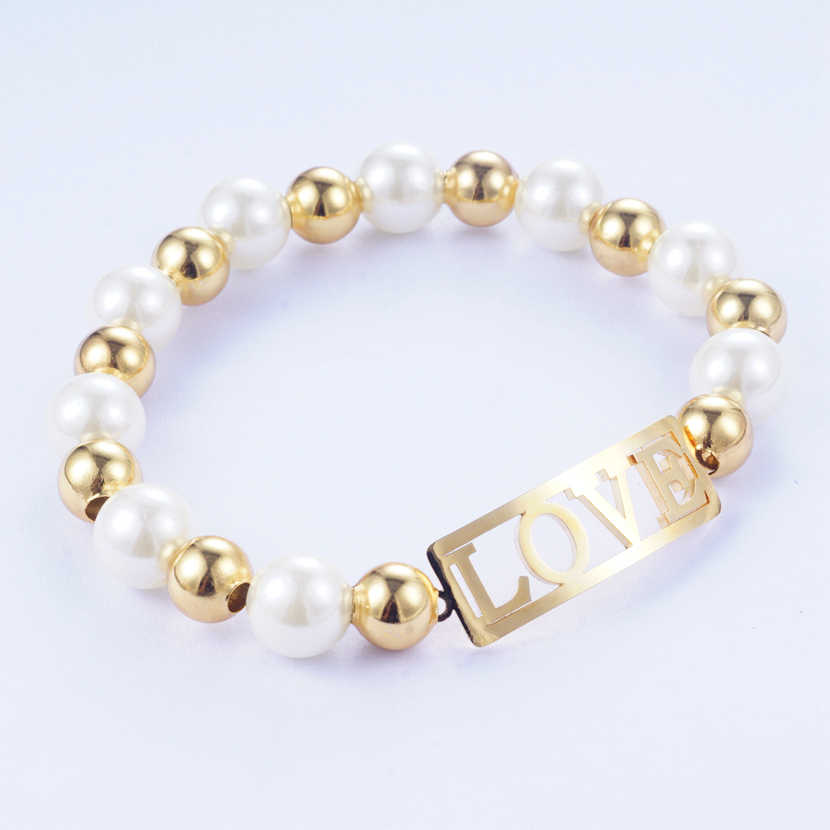 Yunkingdom Elegant Simulated-Pearl Bracelets Metal Gold Color Bangles Stainless Steel Bracelets for Women Girls Gift
