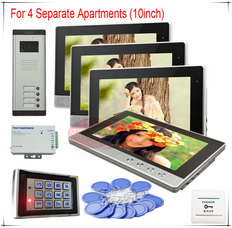 Color Video Door Phones intercom systems For 4 Apartments 10 LCD Indoor unit and 4 keys Security Doorbell+Access control system prasanta kumar hota and anil kumar singh synthetic photoresponsive systems