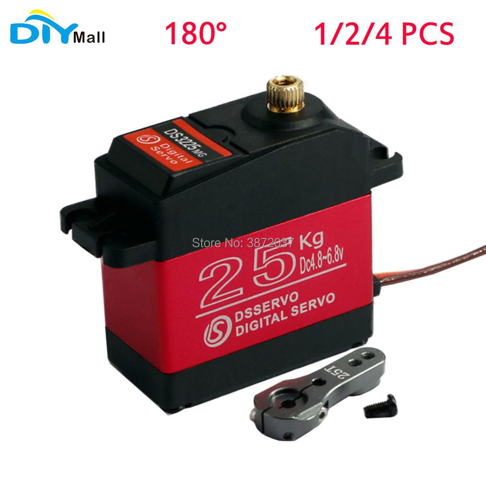 Diymall DS3225 Waterproof Servo Full-Metal-Gear 180 Torque Digital Red 180-Degree Large
