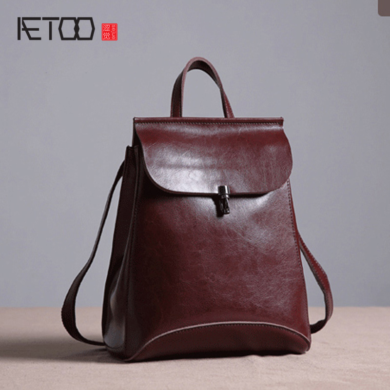 AETOO New original leather backpack female shoulder bag cowhide Korean version of the wave of simple leisure school wind retro aetoo first layer of leather shoulder bag female bag korean version of the school wind simple wild casual elephant pattern durab