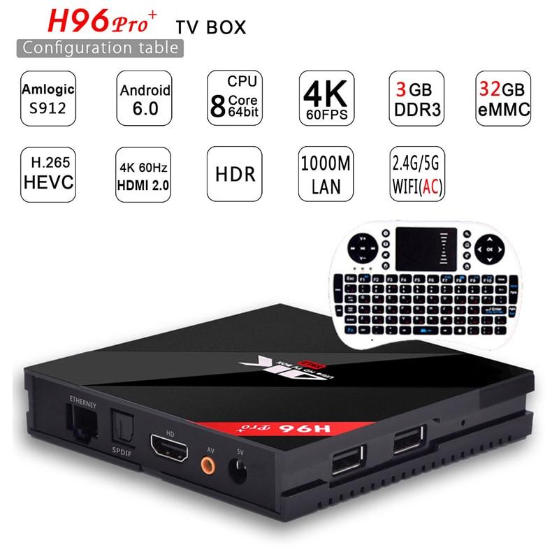 Genuine h96 pro plus 3g 32g Smart TV Box Android 7 1 Amlogic S912 OCTA